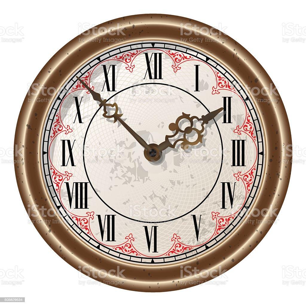 Ancient clock vector vector art illustration
