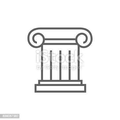 Ancient column thick line icon with pointed corners and edges for web, mobile and infographics. Vector isolated icon.
