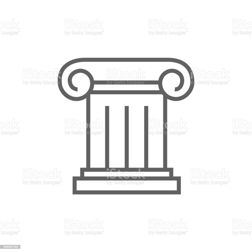 Ancient column line icon vector art illustration