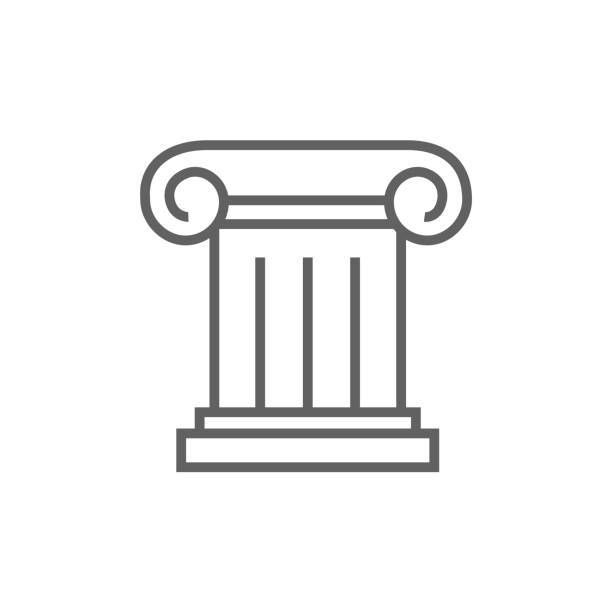Ancient column line icon Ancient column thick line icon with pointed corners and edges for web, mobile and infographics. Vector isolated icon. stability stock illustrations