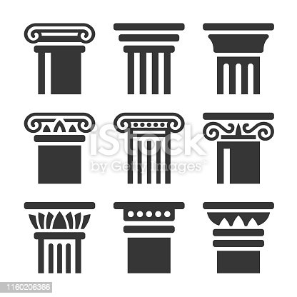 Ancient Columns Icon Set on White Background. Vector illustration