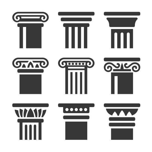 흰색 배경에 설정 된 고 대 기둥 아이콘입니다. 벡터 - 기둥 stock illustrations
