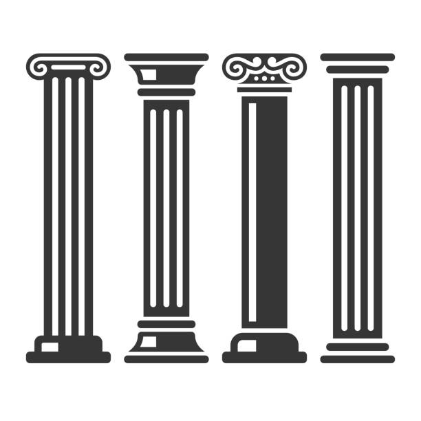 Ancient Columns Icon Set. Vector Ancient Columns Icon Set on White Background. Vector illustration ancient stock illustrations