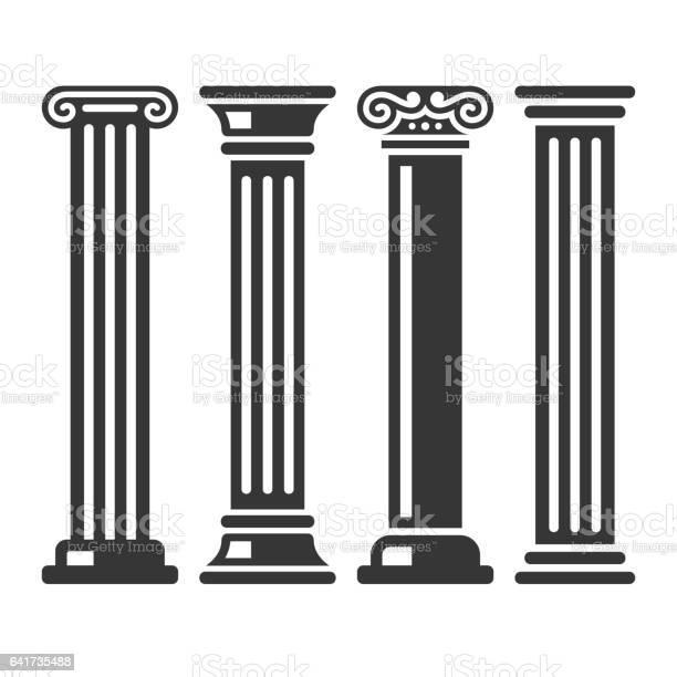 Ancient Columns Icon Set on White Background. Vector illustration