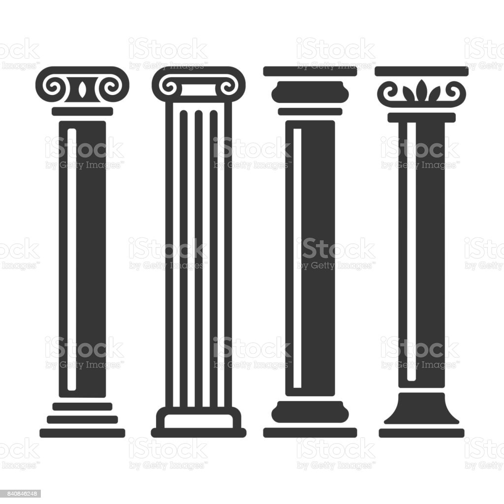 Ancient Columns Icon Set. Vector vector art illustration