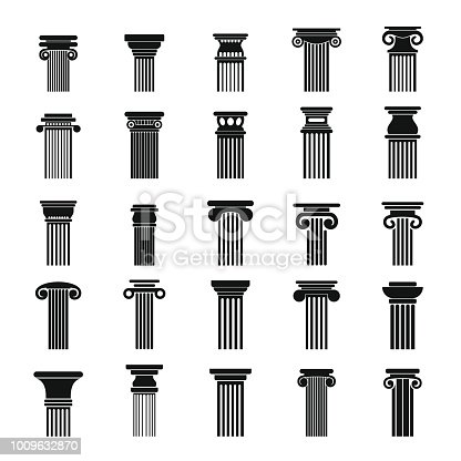Ancient columns icons set. Simple illustration of 25 ancient columns vector icons for web