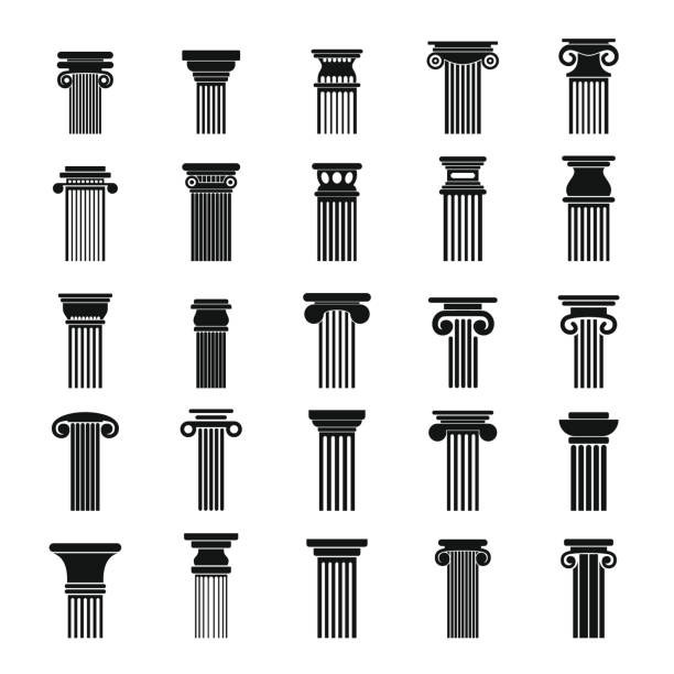 Ancient columns icons set, simple style vector art illustration