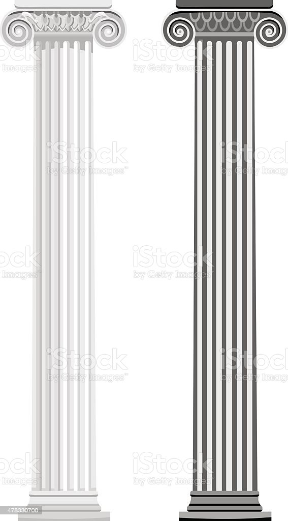 ancient columns vector art illustration