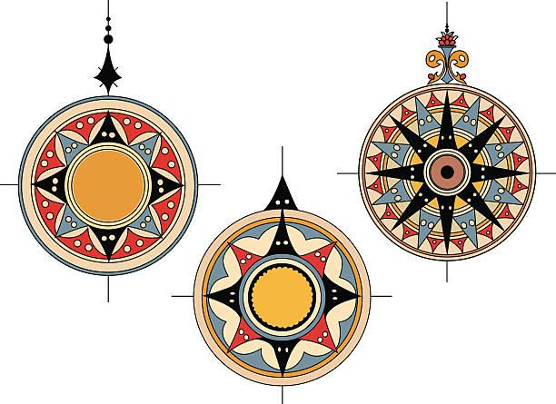 Ancient Compass roses vector art illustration