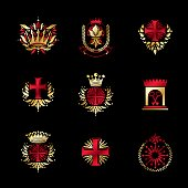 Ancient Crosses Crown Stars and flowers emblems set. Heraldic Coat of Arms, vintage vector symbols collection.
