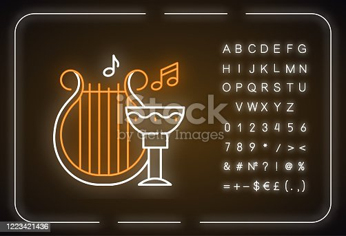 Ancient culture and life neon light icon. Harp melody. Goblet for wine. Greek old artifacts. Archeological discoveries. Glowing sign with alphabet, numbers and symbols. Vector isolated illustration