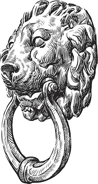 antike tür-griff - türklopfer stock-grafiken, -clipart, -cartoons und -symbole