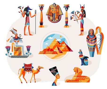 Ancient Egypt art history set. Egyptian symbols, gods, landscape vector illustration. Pharaoh, Nefertiti statue, Anubis, Sphynx, pyramids in desert, mummy. Mythology elements