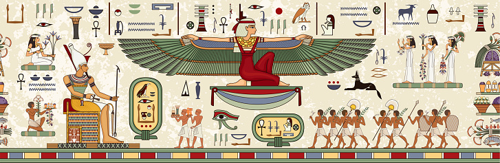 Ancient egypt background.Egyptian hieroglyph and symbolAncient culture sing and symbol.Pharaoh.Historical background.