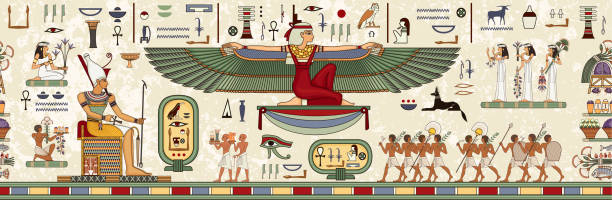 Ancient egypt background.Egyptian hieroglyph and symbolAncient culture sing and symbol.Pharaoh.Historical background. Egyptian hieroglyph and symbolAncient culture sing and symbol. ancient egyptian culture stock illustrations