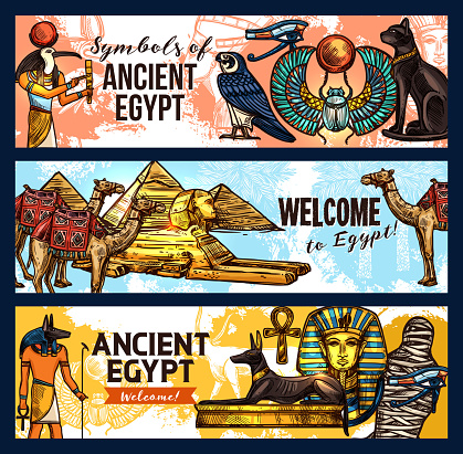 Ancient Egypt banners, tourism and travel