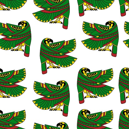 Ancient Egypt bright green falcon on white background vector seamless pattern