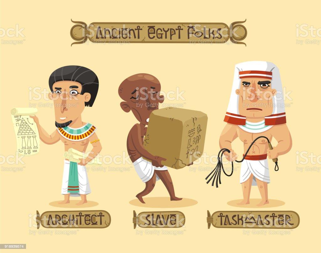 Ancient Egypt characters set vector art illustration