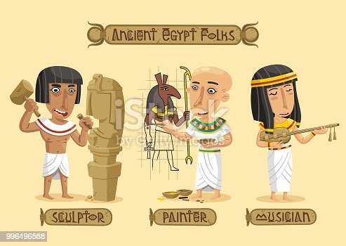 Ancient Egypt arts set: a painter coloring some hieroglyphs,a sculptor working on a statue and a musician playing the lute.