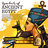 Ancient Egypt culture, history and religion symbol. Egyptian god of death Anubis, eye of Horus and queen Nefertiti, symbol of life ankh and black cat deity sketch vector banner. Travel theme