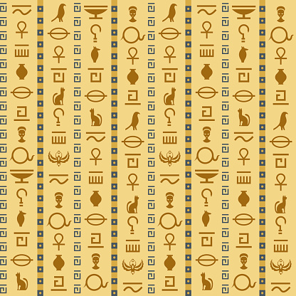Ancient egypt. Egyptian hieroglyphs seamless pattern, antique elements and symbols, historical background, pyramids graphic, decor textile, wrapping paper wallpaper vector texture