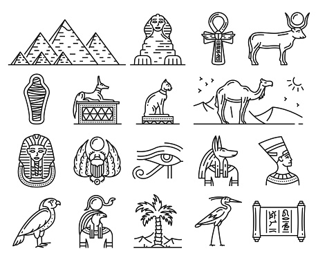 Ancient Egypt gods, travel and religion symbols