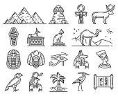 Egypt thin line icons of ancient gods and religion symbols. Sphinx, pharaoh pyramids and Anubis, Ankh, Horus eye and Tutankhamun mummy, cat, hieroglyphics, Nefertiti and scarab. Travel vector theme