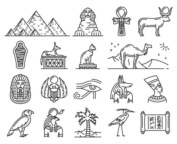 Ancient Egypt gods, travel and religion symbols Egypt thin line icons of ancient gods and religion symbols. Sphinx, pharaoh pyramids and Anubis, Ankh, Horus eye and Tutankhamun mummy, cat, hieroglyphics, Nefertiti and scarab. Travel vector theme egyptian culture stock illustrations