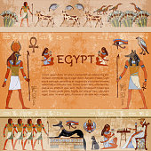Ancient egypt. Hieroglyphic carvings on the exterior walls