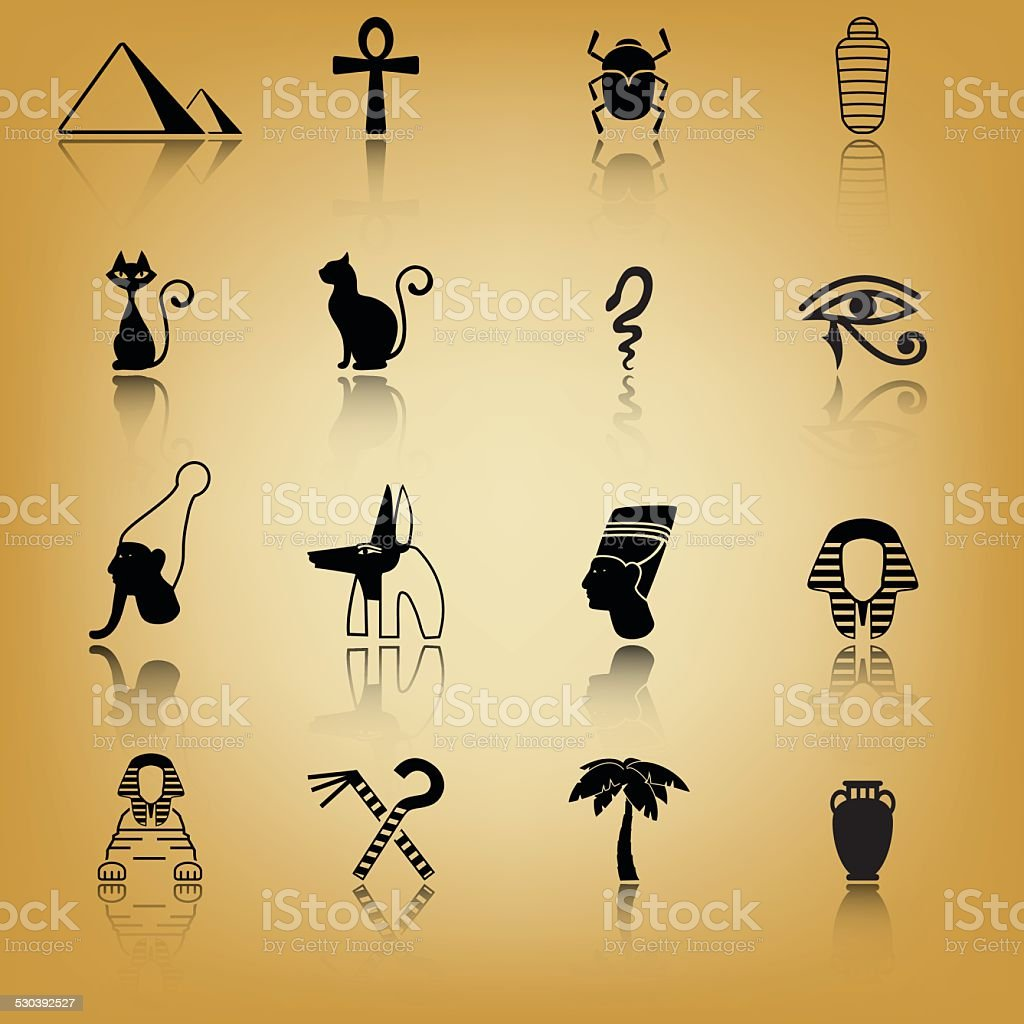Ancient Egypt icon set vector art illustration