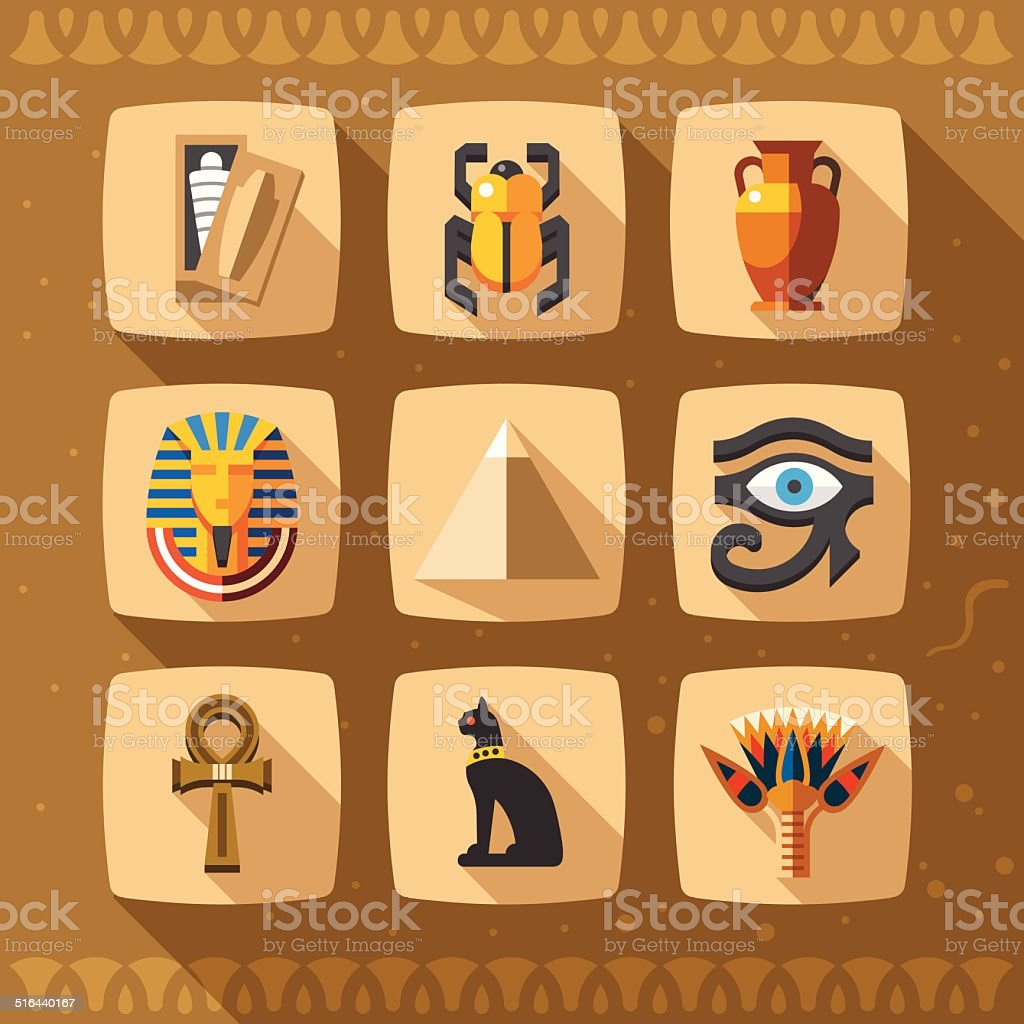 Ancient Egypt icons in flat style. vector art illustration