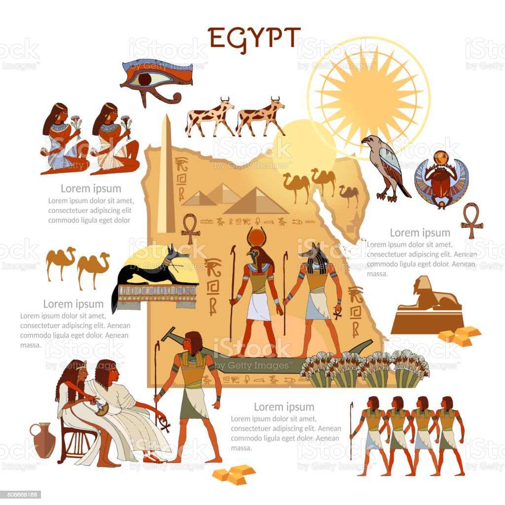 Ancient Egypt infographics. sights, culture. Egyptian gods and pharaoh traditions, map, people. Ancient Egypt template elements vector art illustration