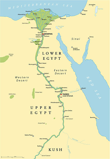 Ancient Egypt Map Historical map of Ancient Egypt with most important sights, with rivers and lakes. Illustration with English labeling and scaling. ancient egyptian culture stock illustrations
