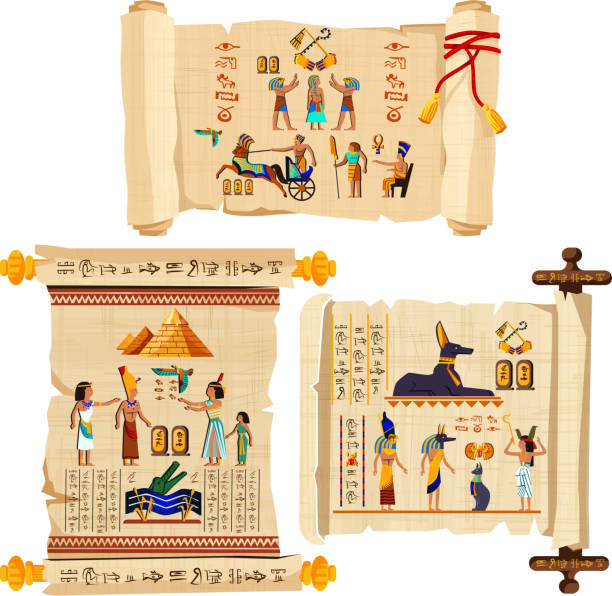 Ancient Egypt papyrus scroll cartoon vector Ancient Egypt papyrus scroll cartoon vector collection with hieroglyphs and Egyptian culture religious symbols, ancient gods, pyramids, scarab and human figures. Decorated with red cord and isolated egypt stock illustrations