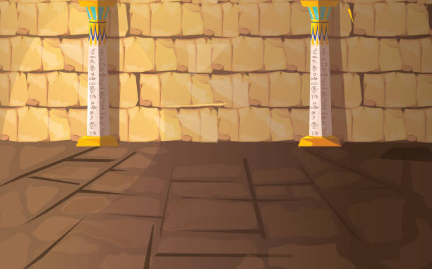 Ancient Egypt pharaoh tomb or temple room Ancient Egypt empty pharaoh tomb or temple room cartoon vector illustration. Egyptian pyramid interior with hieroglyphs on stone walls and white columns with oranment, background for game design egypt stock illustrations