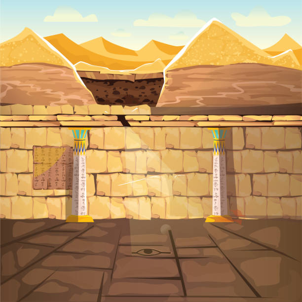 Ancient Egypt pharaoh underground lost tomb Ancient Egypth, lost looted tomb of pharaoh or abandoned temple interior, underground cartoon vector. Archeological excavations, treasures hunting concept. Desert, dug sand and sunbeam in empty crypt egyptian culture stock illustrations