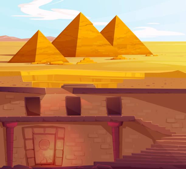 고대 이집트 파라오 지하 잃어버린 무덤 - lost stock illustrations