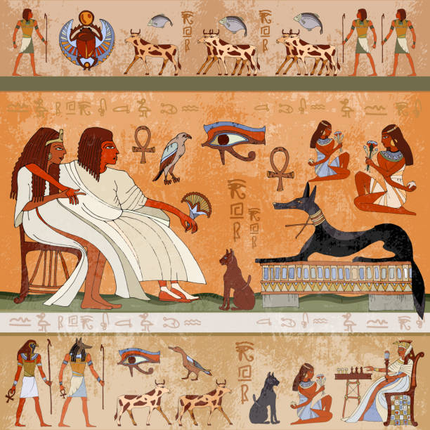 Ancient egypt scene. Egyptian gods and pharaohs. Murals ancient Egypt. Hieroglyphic carvings on the exterior walls of an ancient egyptian temple Ancient egypt scene. Egyptian gods and pharaohs. Murals ancient Egypt. Hieroglyphic carvings on the exterior walls of an ancient egyptian temple ancient egyptian culture stock illustrations