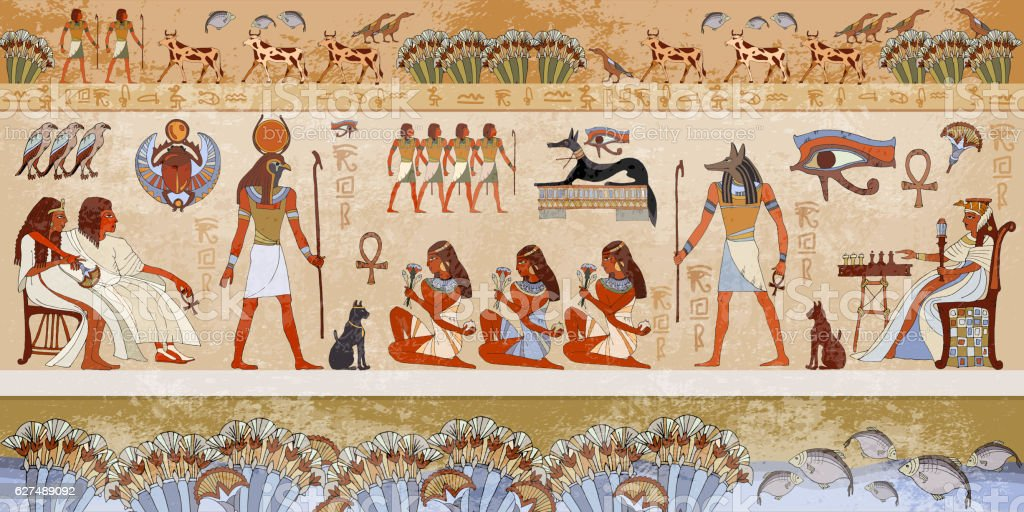 Ancient egypt scene. Murals ancient Egypt. vector art illustration