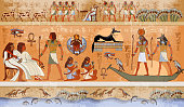 Ancient Egypt scene, mythology. Egyptian gods and pharaohs. Hieroglyphic carvings on the exterior walls of an ancient temple