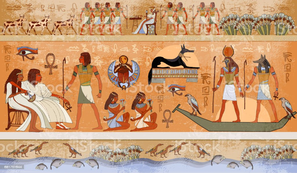 Ancient Egypt scene, mythology. Egyptian gods and pharaohs. Hieroglyphic carvings on the exterior walls of an ancient temple vector art illustration