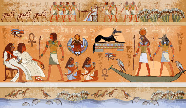Ancient Egypt scene, mythology. Egyptian gods and pharaohs. Hieroglyphic carvings on the exterior walls of an ancient temple Ancient Egypt scene, mythology. Egyptian gods and pharaohs. Hieroglyphic carvings on the exterior walls of an ancient temple ancient egyptian culture stock illustrations