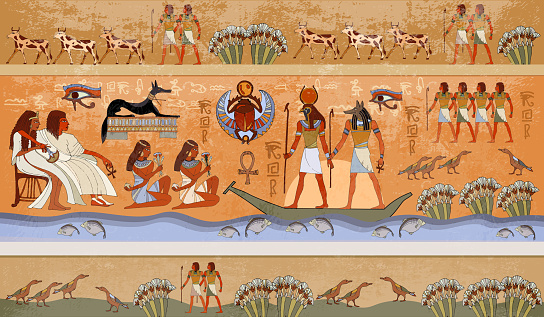 Ancient Egypt scene, mythology. Egyptian gods and pharaohs. Murals ancient Egypt. Hieroglyphic carvings on the exterior walls of an ancient temple. Egypt background
