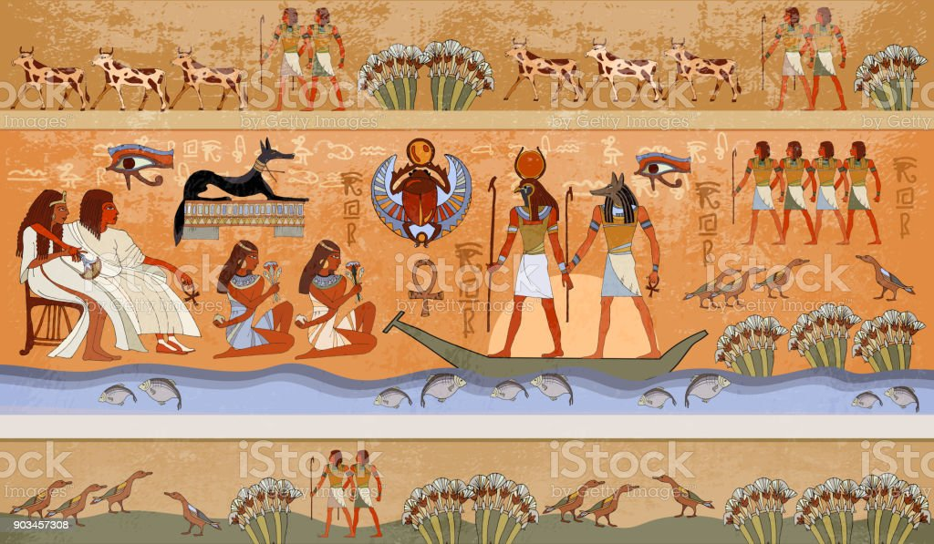 Ancient Egypt scene, mythology. Egyptian gods and pharaohs. Murals ancient Egypt. Hieroglyphic carvings on the exterior walls of an ancient temple. Egypt background vector art illustration