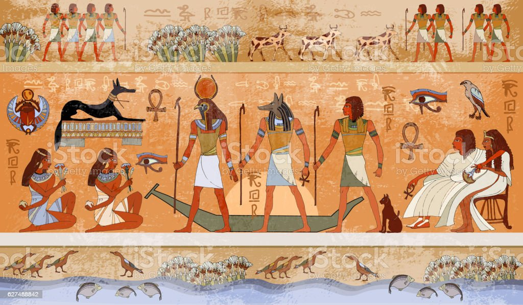 Ancient Egypt scene, mythology. Egyptian gods and pharaohs vector art illustration