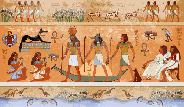Ancient Egypt scene, mythology. Egyptian gods and pharaohs Ancient Egypt scene, mythology. Egyptian gods and pharaohs. Hieroglyphic carvings on the exterior walls of an ancient temple. Egypt background. Murals ancient Egypt. ancient egyptian culture stock illustrations