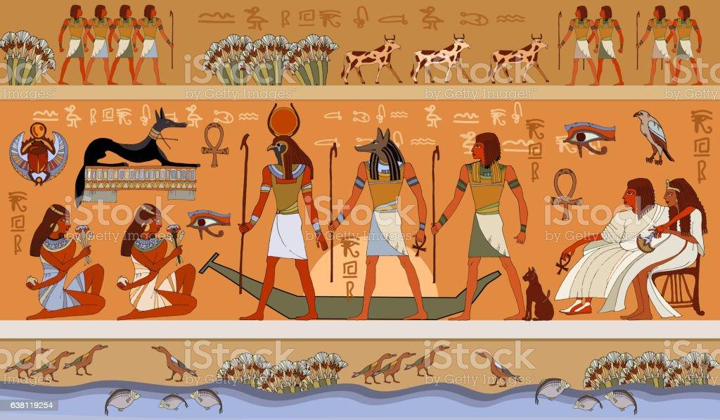 Ancient Egypt scene, mythology vector art illustration