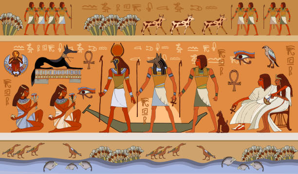 Ancient Egypt scene, mythology Egyptian gods and pharaohs. Ancient Egypt scene, mythology. Hieroglyphic carvings on the exterior walls of an ancient temple. Murals ancient Egypt. ancient egyptian culture stock illustrations