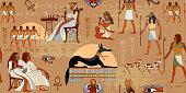 Ancient Egypt seamless pattern.