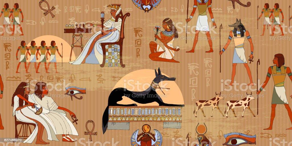 Ancient Egypt seamless pattern. vector art illustration